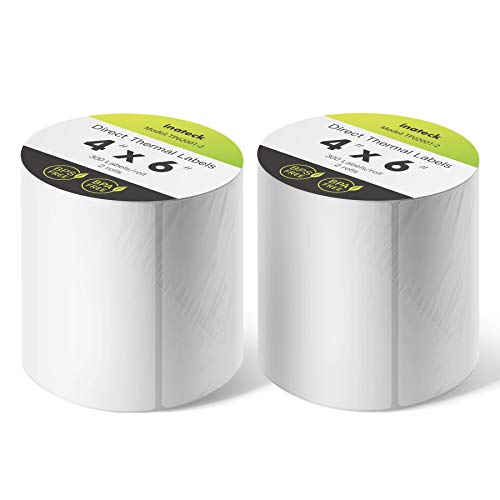 Inateck Etiqueta térmica de envío directo, 4 pulgadas * 6 pulgadas (100 mm * 150 mm), Etiqueta de transporte a prueba de agua, BPA/BPS gratis, 300 etiquetas por roll