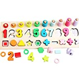 NA Montessori Math Shapes Toys Preschool Counting Early Learning Education Toy Math Shapes Puzzle Toys for Toddlers Stacking Shape Sorting Kids Games Wood Blocks for Kids Number Counting