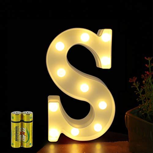 HONPHIER® Buchstaben Lichter Alphabet Lampe LED Brief Beleuchtung Buchstabe Licht Beleuchtete Buchstaben Nachtlichter Dekoration für Geburtstag Party Hochzeit Kinderzimmer (S)