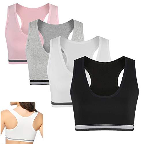 MANJIAMEI Sujetador Deportivo para niñas, Camiseta sin Mangas de algodón para niños,...