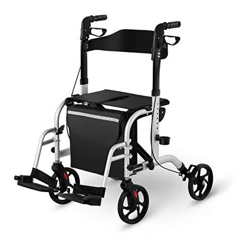 Uniprodo UNI_ROLL_03 2in1 Rollator Transportstuhl Gehhilfe 2 in 1 Rollator mit Fußstützen