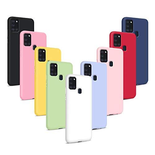 9X Cover per Samsung Galaxy A21S, Custodie Morbido Silicone Case Tinta Unita Ultra Sottile TPU Flessibile Gomma Protezione Posteriore Antiscivolo Protettiva Skin Caso - 9 Colori
