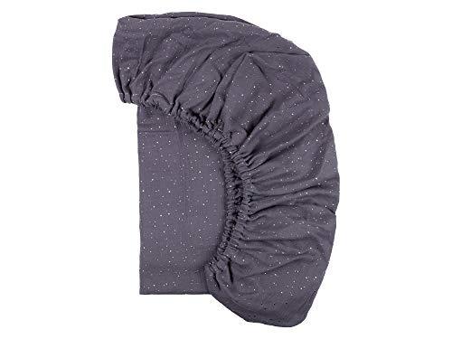 KraftKids Sábana bajera de muselina, puntos dorados sobre gris, 100% algodón, tamaño 140 x 70 cm, funda de colchón hecha a mano fabricada en la UE