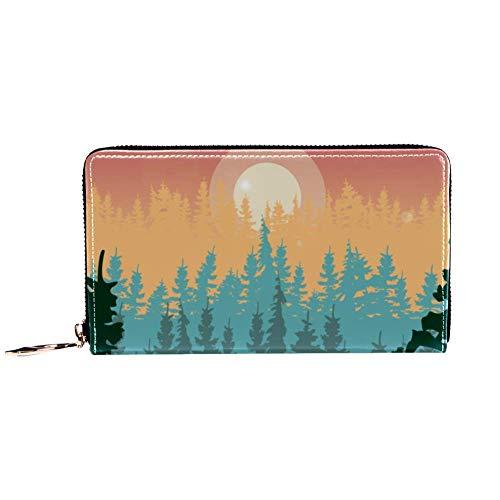 XCNGG Cartera con cremallera para mujer y embrague para teléfono, bolso de viaje, bolso de mano de cuero, tarjetero, organizador, muñequeras, carteras, montañas de verano con bosque de pinos y colinas