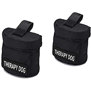 """Therapy Dog Harness Vest Saddle Bags with """"THERAPY DOG"""" Hook Patches – Therapy Dog Backpack Pouch for Therapy Dog and Therapy Dog in Training – Identifying Patch on Each SaddleBag (Therapy Dog)"""