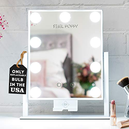 """Rebel Poppy Lighted Makeup Mirror with LED Lights and Phone Mount, 3 Lighting Touch Control, 14.5"""" x 12"""", Fogless - Counter Top Mirrors - Mini, White"""