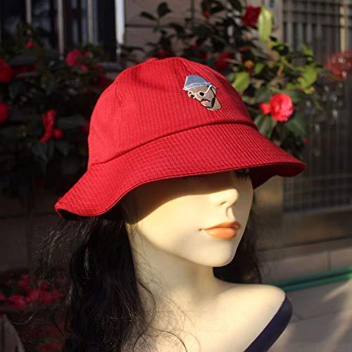 geiqianjiumai Super Fischerhut Baumwolle Mann Avatar Stickerei Mode frische hochwertige Wilde Sonnenhut rot