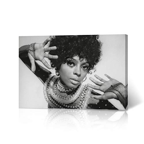 HB Art Design Diana Ross in Afro Head from Photoshoot Black and White Canvas Wall Art Print Beautiful African American Art Icon Artwork Living Room Bedroom Decor Home Decor Made in USA 11x17