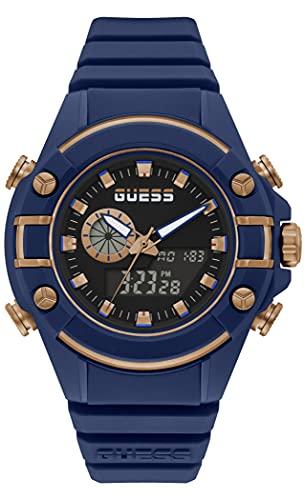 GUESS Reloj de cuarzo de policarbonato para hombre con correa de silicona, azul, 20 (Modelo: GW0269G2)