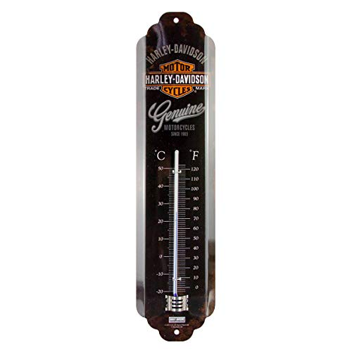 Nostalgic-Art Analoges Retro Thermometer Harley-Davidson Logo, Geschenk-Idee für Motorrad-Fans, aus Metall, Deko Vintage Design, 6,5 x 28 cm