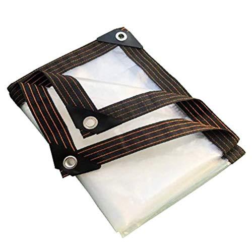 Lámina de lona transparente impermeable para trabajo pesado, resistente al polvo, resistente a la lluvia, fortalece la cubierta a prueba de viento, 2 mx 2 m, con ojales, cordón de bola elás(Size:1x1M)