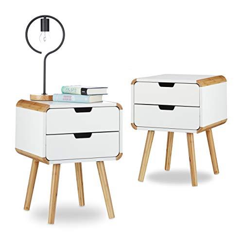 Relaxdays 2X Nachttisch 2 Schubladen, Nachttischschrank weiß, Nachtschrank Bambus, Nachtkommode klein, HxBxT: ca. 55 x 40 x 40 cm