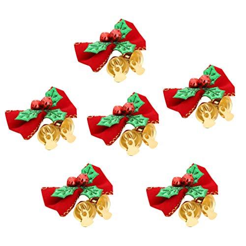 Amosfun - Juego de 6 Mini moños de Navidad con Campanas, Adornos, árbol de Navidad, Accesorios para el Pelo de Lazo, Accesorios para Fiestas
