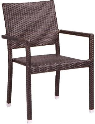Alta calidad Silla de jardín silla apilable Polirratán, Coffee