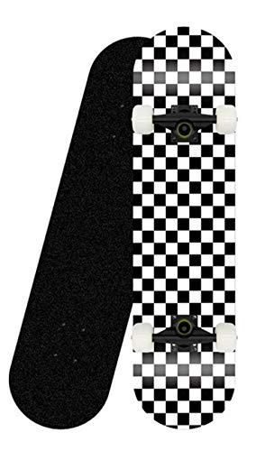 Teen Adult Anfänger Komplettes Skateboard 31``x8 '' Check Pattern 7-lagiges Maple Platform Double Kick Concave Jungen- und Mädchen-Skateboard-Schwarze Klammer