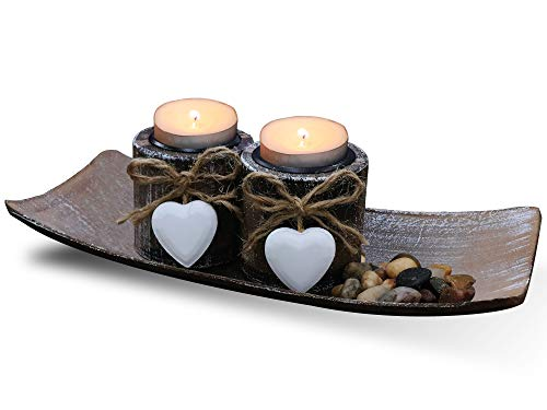Fovasen Shabby Chic Tea Light Candle Holders, Romantic Valentines Christmas Decor Rustic Candle Holder Set Wooden Votive Candlestick with Tray and Rocks for Coffee Dining Table Center Decor-Set of 2