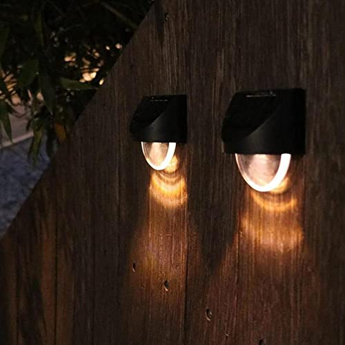 4 piezas de luces solares al aire libre LED luz de pared solar a prueba de agua iluminación de valla LED lámpara de pared jardín paisaje decoración de valla luz solar