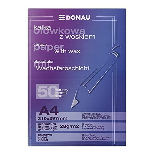 DONAU 1923950PL-23 Blaupapier/Durchschreibepapier mit Wachsfarbschicht, A4, 50 Blätter, violett