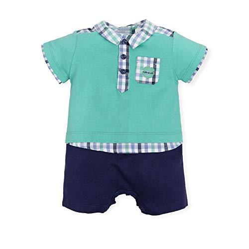 Tutto Piccolo 6293S19 Pelele Bebé Verano Manga Corta Algodón (Tallas de 0 a 24 Meses), Colores Verde y Azul