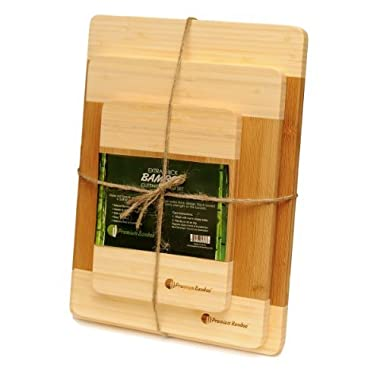 ♻ Extra Thick Eco-Friendly Bamboo Cutting Board Set - 3 Piece set of Thick, Strong, and Durable Bamboo Wood Cutting Board With Beautiful White Edge by Premium Bamboo