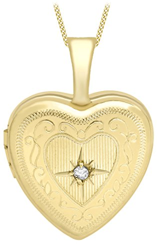Carissima Gold 9ct Yellow Gold Small Diamond Set Etched Heart Locket on Curb Chain of 46cm/18'