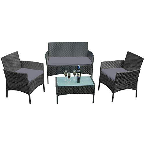 LeMeiZhiJia Balkon Möbel Set Gartengarnitur Rattan Lounge Set Anthrazit Polyrattan Gartengarnitur inkl. 1 Bank + 2 Stühle + 1 Tisch mit Glasplatte und 8 cm Rückenkissen für Garten