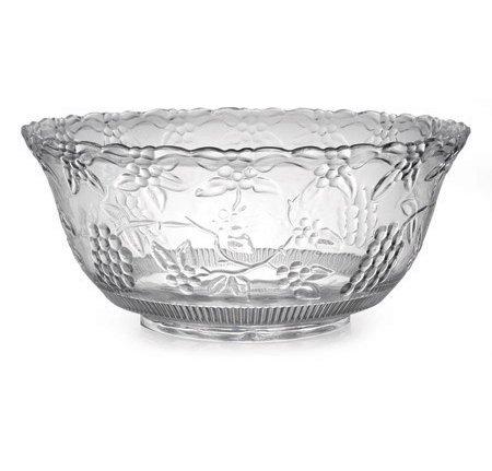 Heavy Duty Reusable Plastic Punch Bowl | Decorative Serving Bowl - Clear - 7.5 Litre - (8 USA Quarts)