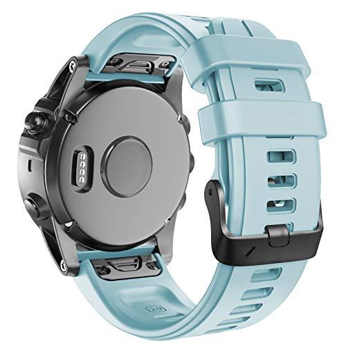 ANBEST Armbänder Kompatibel mit Fenix 5S/6S/6S Pro/5S Plus Armband Schnelle Veröffentlichung Uhrenarmband, 20mm Weiches Silikon Ersatzarmband für D2 Delta S Smart Watch(Meeresschaum blau)