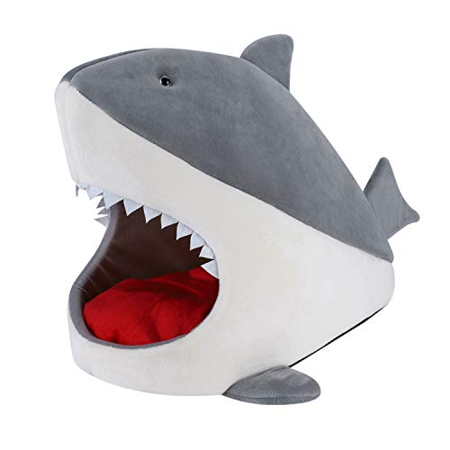 Qchomee Shark Cat Dog Bed Cat Cave Igloo Soft Self Warming Washable Cat Sleeping Room Cat House Pet Bed for Kitten Puppy Small Dog Animals,Detachable Cushion Easy To Clean