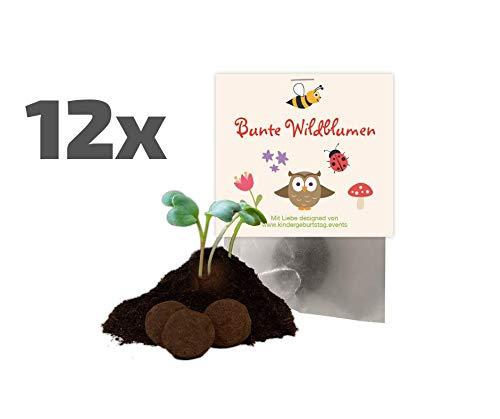 Ideenverlag 12x Blumenwiesen Samenbomben als Mitgebsel zum Kindergeburtstag / Seedbombs / Partytüten / Mitgebseltüten / Geschenktüten / Blumen / Give-aways / Geburtstag / Kinder / Saatkugeln