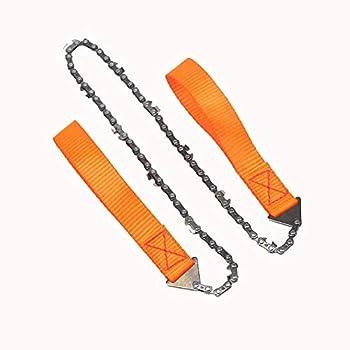 WINSTON-UK Scie à main portable avec fermeture éclair pour extérieur, randonnée, camping, outils de survie en acier, longue chaîne d'urgence, toile de traction (Orange)