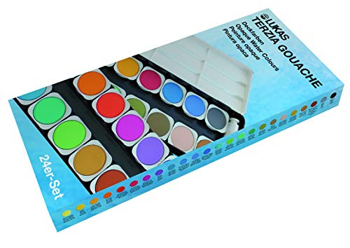 Lukas Opaque Artist Watercolor Studio Paint Set - Professional Quality, Includes a Travel Friendly Outdoor Painting Case and Color Mixing Palette - 24 Brilliant Colors in Round Pans