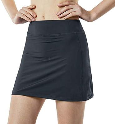 TSLA Women's Athletic Skorts Lightweight Active Tennis Skirts, Workout Running Golf Skirt with Pockets Built-in Shorts, Active Skorts(fbk01) - Charcoal, Medium