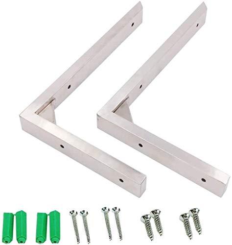 WPLHH Soporte de estante plegable de acero inoxidable, bisagra de mesa montada en la pared, soporte de metal, 2 unidades, con tornillos (tablero no incluido) (tamaño: 110 x 194) (tamaño: 20 x 15 cm)