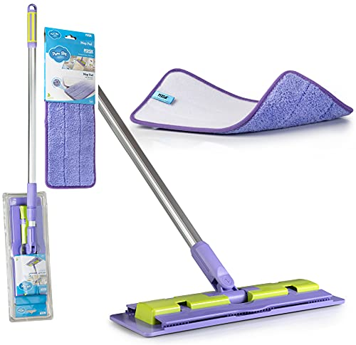 Pure-Sky Microfiber Mop Floor Cleaning - JUST ADD Water No Detergents Needed - Hardwood Wet or Dry - Includes Pole Light Weight, Strong Durable Pole + Includes Mop Washable Pad