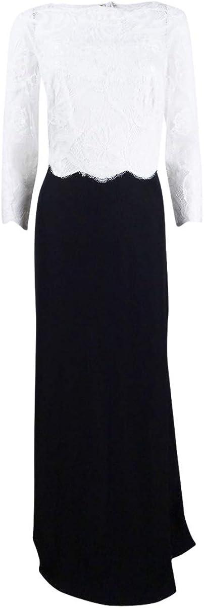 Tadashi Shoji Women's 3/4 Sleeve Lace/Crepe Gown
