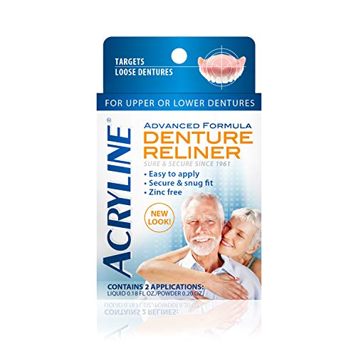 Acryline Advanced Formula Denture Reliner - Refit and Tighten Dentures/for Both Upper & Lower Dentures/Easy Application