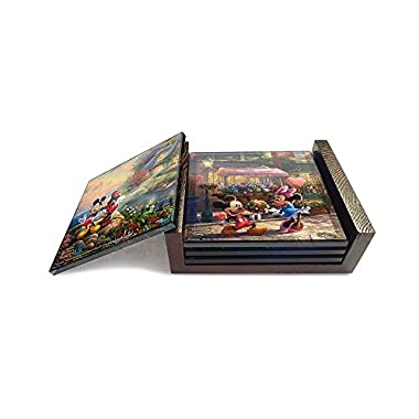 Disney's Mickey and Minnie Mouse (Sweetheart Collection) StarFire Prints Glass Coaster Set (4 Piece with holder) - Thomas Kinkade Artwork