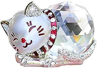 tesss 風水 水晶 クリスタル 猫 【 幸運 招き お願い ネコ ちゃん 】 金運 ラッキー アイテム (シルバー)