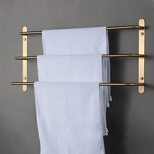 YELITE Towel Bars Bathroom Accessories Set, Three Stagger Layers Bathroom Bath Towel Rack, Luxury Brushed Gold Stainless Steel, Multi-Purpose Wall Mounted, for Bathroom, Kitchen, Balcony, Hallway