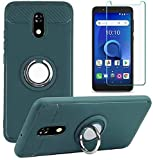 BLU View 2 Case with Tempered Glass Screen Protector, Rotating Ring [Magnetic Car Mount] [360°Kickstand] Holder [Fashion] Soft TPU Protection Cover Case for BLU View 2 (Army Green)