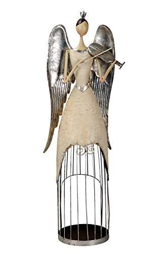 Posiwio großer Deko Engel mit Geige als Windlicht Creme-Silber antike Shabby Optik