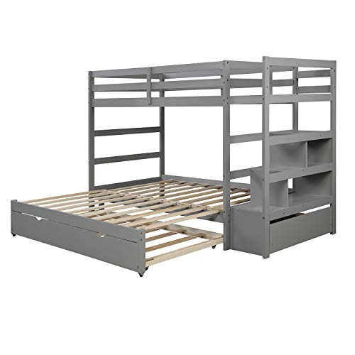 [Pick Up Unavailable of UPS] Twin Over Twin/King Bunk Bed with Twin Size Trundle (Gray) (White)