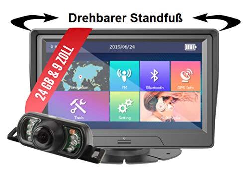 Elebest City 90K+ Navigationsgerät Auto - 9 Zoll HD Display, Funk-Rückfahrkamera 2.4GHZ, lebengslanges Karten Update, Blitzerwarner, Bluetooth, 24 GB Speicher, für PKW LKW und Wohnmobil, starker Akku