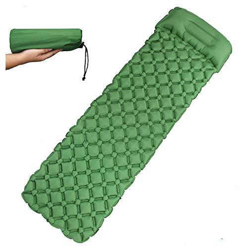 QYER Home Inflatable Mattress, Waterproof Self Inflating Air Mattress, Super Light Twin Inflatable Mattress for Outdoor Camping Hiking Camping (Color : Green, Size : Sleeping pad)