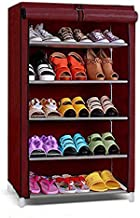 Ebee 5 Shelves Shoe Rack with Cover (Maroon)