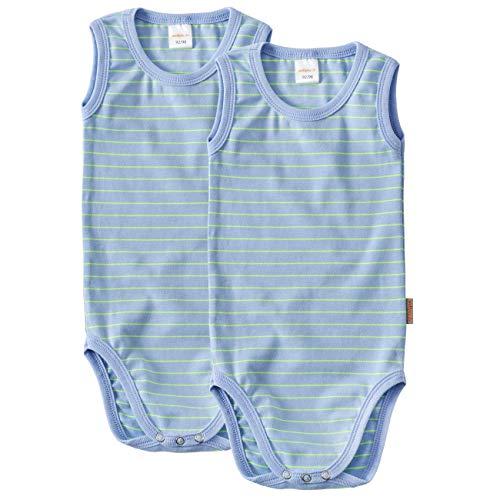 WELLYOU Conjunto de 2 Bodys sin Mangas para bebés, Color Azul con Rayas Amarillo neón. Tallas 50-98 (92-98)
