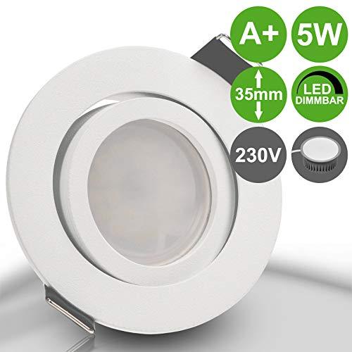 BIANCO 5er Set 230V LED 5W dimmbar Decken Einbaustrahler ultra flach (rund) WEIß WEISS MATT Warmweiß (3000k) nur 35 mm Einbautiefe schwenkbar Leuchtmittel austauschbar