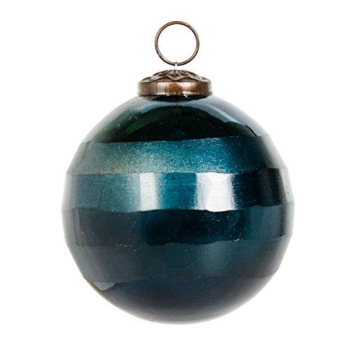 Gina Da Weihnachtskugeln Taglio aus Glas Massive Christbaumkugel aus handgeschliffenen Glas Anhänger Christbaumkugel Petrol (L Ø: 9,5cm)