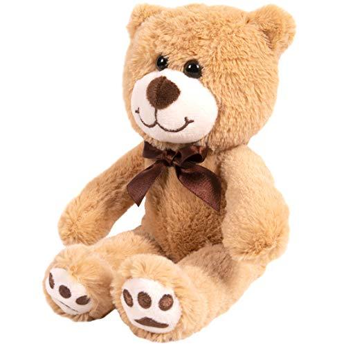Kangaroo Your Baby 1st Teddy Bear - Stuffed Animal - Plush 12'' Tan Bear with Brown Bow
